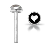 925 Sterling Silver Nose Stud Straight or L Bend 3mm Heart