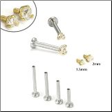 14KT Yellow Gold 316L Surgical Steel Labret Style Nose Monroe Stud Screw Post -Choose Your Size