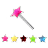 **BLOW OUT SALE** 925 Sterling Silver Straight or L Bend Nose Stud -Choose Your Color 2.5mm Star