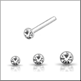 925 Sterling Silver Nose Studs Pins Straight or L Bend Round Choose Your Size