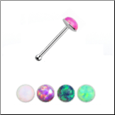 925 Sterling Silver Nose Bone 2.5mm Opal Gem 22G