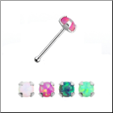 925 Sterling Silver Nose Bone 2mm Opal Gem 22G