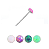 925 Sterling Silver Straight Nose Stud 2.5mm Opal Gem 22G