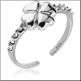 925 Sterling Silver Toe Ring Heart Clover