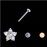 **BLOW OUT SALE** 925 Sterling Silver Mixed Nose Studs Flower and Ball 3 Pack 22G