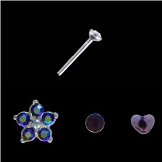 **BLOW OUT SALE** 925 Sterling Silver Mixed Nose Studs Flower and Heart 3 Pack 22G
