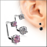 316L Surgical Steel Ear Lobe Loop Cartilage Earring with CZ's 16G
