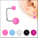 **BLOW OUT SALE** 316L Surgical Steel Ear Cartilage Earring with UV Acrylic Balls 18G