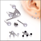 **BLOW OUT SALE** 316L Surgical Steel, EAR JACKET, Pearl 16G