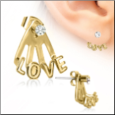 316L Surgical Steel Gold Plated , EAR JACKET,  LOVE 22G