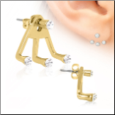 316L Surgical Steel,  EAR JACKET, Trident Triple CZ 22G