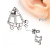 316L Surgical Steel , EAR JACKET,  Multi CZ 22G