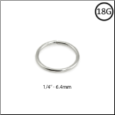 "14KT White Gold Seamless Nose Ring Hoop 1/4"" - 6.4mm 18G"