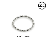 "14KT White Gold Seamless Nose Ring Twisted Wire Hoop 5/16"" - 7.9mm 22G"