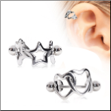 316L Surgical Steel Earring Interlocked Heart or Star Cartilage Cuff 16G