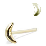 18KT Gold Nose Stud Moon-Choose Your Style 20G