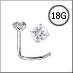 Titanium Nose Screw 2mm Round CZ 18G