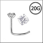 Titanium Nose Screw 2mm Round CZ 20G
