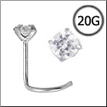 Titanium Nose Screw 2.5mm Round CZ 20G