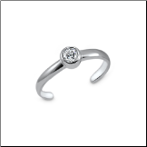 925 Sterling Silver Single CZ Toe Ring