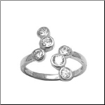 925 Sterling Silver Bubble CZ Toe Ring