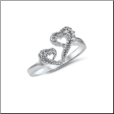 925 Sterling Silver Clear Heart CZ Toe Ring
