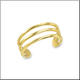14KT Solid Yellow Gold Toe Ring 3 Band
