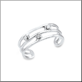 10KT White Gold Toe Ring with Triple CZ