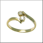 10KT Yellow Gold Double CZ Toe Ring