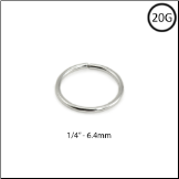 "14KT White Gold Seamless Nose Ring Hoop 1/4"" - 6.4mm 20G"