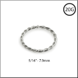 "14KT White Gold Seamless Nose Ring Twisted Wire Hoop 5/16"" - 7.9mm 20G"