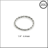 "14KT White Gold Seamless Nose Ring Twisted Wire Hoop 1/4"" - 6.4mm 20G"