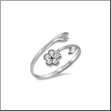 10KT Solid White Gold Flower CZ Toe Ring