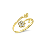 10KT Solid Yellow Gold Flower CZ Toe Ring