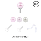 Bioflex Labret Style Push Pin Nose Stud or Nose Screw 3mm Pearl 18G