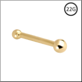 14KT Solid Yellow Gold Nose Bone 2mm Ball 22G