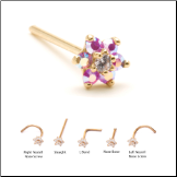 14KT Solid Yellow Gold Nose Stud 4.5mm Pink Aurora AB Flower