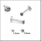 14KT White Gold 316L Surgical Steel Labret Style Nose Monroe Stud Screw Post Sapphire CZ