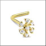 14KT White or Yellow Gold Nose Stud Snowflake Flower - Choose Your Gold, Gauge & Style