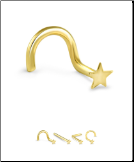 18K Gold Nose Stud 3mm Flat Star -Choose Your Style 22G