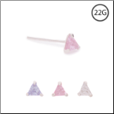 925 Sterling Silver Straight or L Bend Nose Stud -Choose Your Color 3mm Triangle 22G