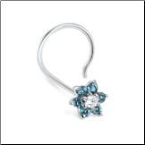 14KT White Gold Nose Screw 5mm White and Blue Flower Genuine Diamonds 20G