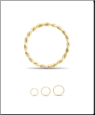 14KT Yellow Gold Twisted Seamless Nose Ring