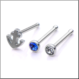 316L Surgical Steel Anchor Nose Bone CZ Mixed 3 Pack 20G