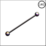 "**BLOW OUT SALE** Black PVD 316L Surgical Steel Industrial Barbell Cartilage Aurora AB 1 3/8"" 14G"