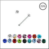 925 Sterling Silver Nose Bone Tiny Micro 1mm CZ 22G
