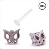 316L Surgical Steel Bioflex Labret Style Push Pin Nose Stud 5mm Butterfly 18G