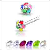925 Sterling Silver Nose Studs Pins Straight or L Bend 2mm Colored Flower