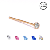 18KT Gold Nose Stud 2mm Bezel CZ -Choose Your Color & Style 22G