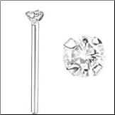 14KT White Gold Genuine Diamond Nose Stud Straight 2mm 18 Gauge  Free Backing!
